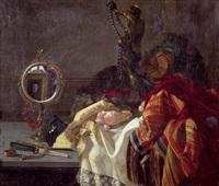 stilleben mit handspiegel und bronzefigur by anna piaget