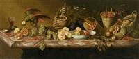 stilleben mit früchten, wein und papagei auf einem marmor-tisch by barend van der meer
