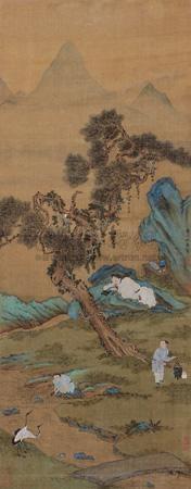 洗砚烹茶图 by qiu ying