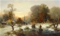 winterlandschaft mit personen auf einem geforenen fluss by günther könig