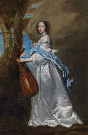 porträt der lady isabella rich mit laute by sir anthony van dyck