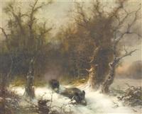 winterlandschaft mit zwei wildschweinen by günther könig
