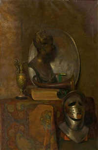pair of works: kitchen still life with vegetables/still life with bust of a woman by frans slager