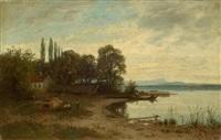scene on the lake shore by adolf (johann) staebli