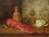 stillleben mit einem hummer und käse by hermann gottlieb kricheldorf