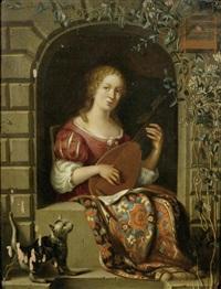 laute spielende dame an einem fenster by frans van mieris