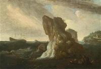 marineszenen mit stürmischer see (pair) by pieter mulier the younger