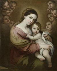 madonna mit kind, umgeben von cherubinen by bartolomé esteban murillo