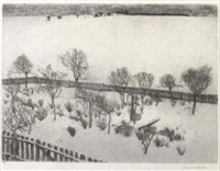 vorstadtgarten im schnee by alexander olbricht
