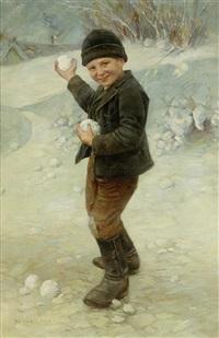 junge im winter beim schneeballschiessen by géza peske