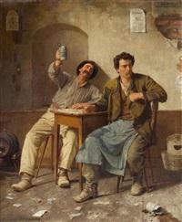 zwei arbeiter beim kartenspiel by eduard pfyffer