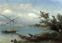 seeufer mit fischerbooten by johann jakob stadler