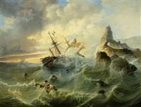 schiffe und figuren in einer stürmischen see by george samuel