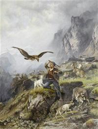hirtenjunge mit seinen tieren und einem adler by f. müller