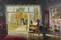interieur mit klavier und sicht in den garten by ernst lorenz