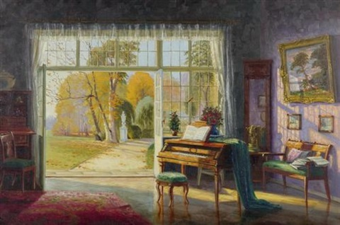 Interieur mit klavier und sicht in den garten by ernst for Hugo broeders interieur