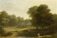 landschaft mit drei personen und einem esel by philip hutchins rogers