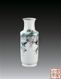 粉彩花鸟瓶 (porcelain vase) by liu yucen
