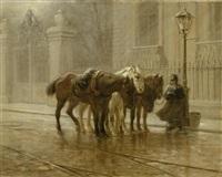 ein pferdewärter und drei trambahnpferde by emil rumpf