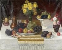 stilleben mit blumen und früchten by hans pezzey