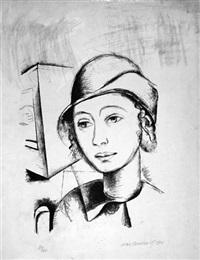 porträt einer jungen frau mit hut by max burchartz