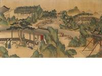 figures in a garden setting by jiao bingzhen