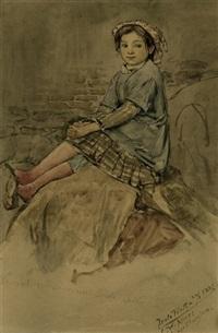 bildnis der serena contini sitzend auf einem hügel (+ zwei lesende kinder, pencil; 2 works) by christian wilhelm allers