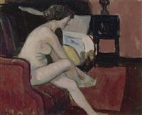 weiblicher akt mit sessel by fernand piet