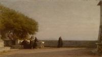 mönche auf einer terrasse by alfred van (jacques) muyden