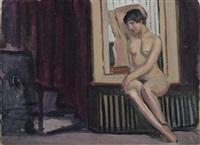 weiblicher akt vor spiegel by fernand piet