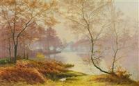 herbstlandschaft mit einem teich by albert gabriel rigolot