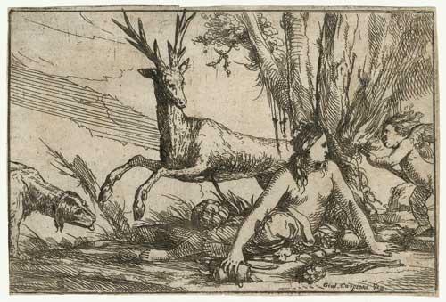erde kybele mit amor und tieren aus der folge der elemente by giulio carpioni