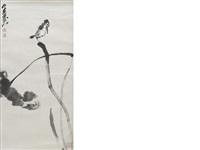 lotus and bird after zhu da by jiang jian