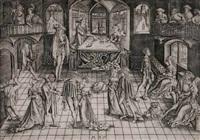 der große ball in der residenz des herzogs albert iv. von bayern, der mit seiner gemahlin kunigunde karten spielt by matthaus zasinger