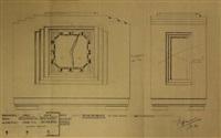 schoorsteenklokje op ware grootte. voor- en zyaanzicht (design) by frits spanjaard