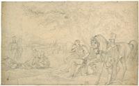 campierende soldaten in einer landschaft, im vordergrund der künstler albrecht adam, den kopf in die hand gestützt by albrecht adam