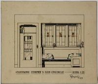 vensterwand eetkamer v/e klein landhuisje. schaal 1:20 (+ wandje met schouw in woonkamer; 2 designs) by frits spanjaard