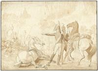 eugène de beauharnais mit seinem adjutanten bei zvenigorod (+ another; 2 works) by albrecht adam