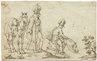 zwei kavalleristen an einem flussufer by albrecht adam
