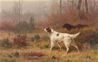waldlandschaft mit zwei hunden by jean-charles renaud