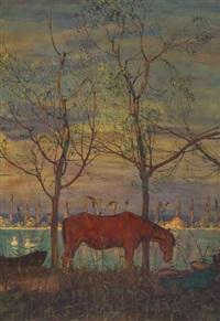 müdes pferd vor bodenseelandschaft by hans dieter