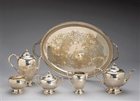 a five piece tea and coffee set with complementary plated tray (various sizes; set of 6) by dunkirk silversmiths