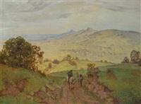 zwei leute auf einem weg vor weiter landschaft by hans dieter