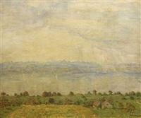 landschaft am see vor bergpanorama by hans dieter