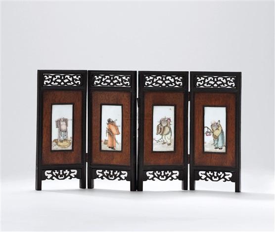 粉彩八仙瓷板小屏风(四屏) famille rose plaques in 4 parts by liu xiren