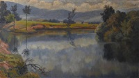 flusslandschaft in puy de dôme by emile alder