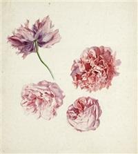 studienblatt mit den blüten gefüllter rosen und tulpen by emile-charles labbé