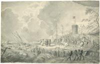 napoleon mit seinen generälen an einer küste (rügen?) by peter heinrich lambert von hess