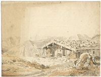 die zeller alp am wendelstein (+ studienblatt mit einem pferd und helmen; 2 works) by peter heinrich lambert von hess