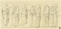 relief mit 8 gewandfiguren (study) by gustav heinrich naeke
